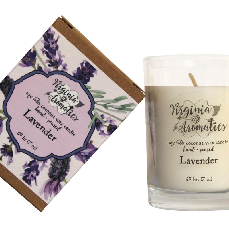 Virginia Aromatics boxed tumbler candle lavender