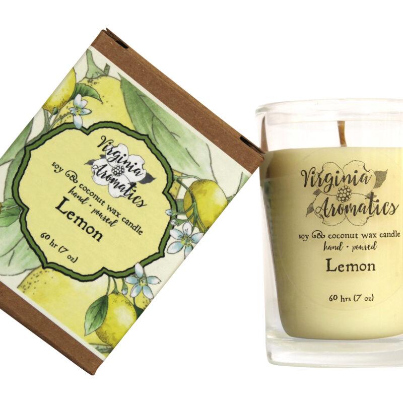 Virginia Aromatics boxed tumbler candle lemon