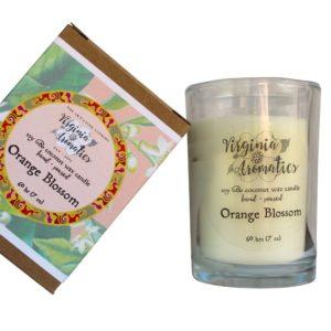 Virginia Aromatics boxed tumbler candle orange blossom